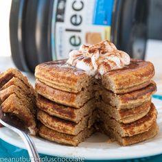 •Fluffy Pumpkin Spice Protein Pancakes• For 5 pancakes: 356 cals, 13g F/32g C/40g P INGREDIENTS: 1/4 c coconut flour, 1 scoop PEScience Snickerdoodle Select Protein, 1 tbsp. coconut sugar or sugar alternative, 1 egg, 1 egg white, 3 tbsp. pumpkin puree, 1 tsp. vanilla extract, 1 tsp. cinnamon, 1 tsp. pumpkin spice, 1 tsp. baking powder, 3/4 c & 2 tbsp almond milk CLICK PHOTO FOR FULL RECIPE