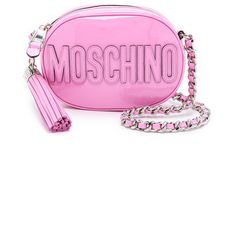 Moschino Patent Leather Moschino Bag ($1,000) ❤ liked on Polyvore featuring bags, handbags, shoulder bags, pink, patent leather crossbody, pink crossbody purse, crossbody shoulder bags, pink purse and moschino handbag