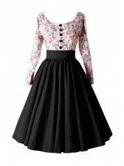 Ball Gown Swing Color Block Floral Printed Vintage Exquisite Round Neck Skater Dress