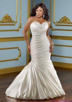 Beautiful mermaid wedding dress, plus size.