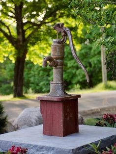 A manual well pump, discovered near the barn, becomes a permanent lawn fixture and reminder of the property's farming heritage.