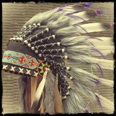 Purple White Black Feather Headdress