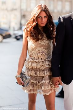Olivia Palermo in a tiered lace dress. It's about how you wear it....   p.s. every time we tended the same events, she always looked absolutely flawless ...