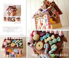 =内容=A4用紙 表紙1枚・レシピ4枚・型紙9枚レシピは図や写真を使い、作り方を説明しています。*屋根を外すとハウスの中は小物入れとして使えます。お菓子の家の内容・ハウス・ジェリービーンズ・カラーチョ Felt Cake, Felt Food, Christmas Decorations, Holiday Decor, Storage Boxes, Felt Crafts, Biscuit, Gingerbread, Clay