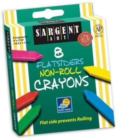 Sargent Art 35-0591 8-Count Flatsiders and No Roll Crayon by Sargent Art. $5.03. Available in a peggable box. AP Certified. Flat on one side to prevent rolling. Large size encourages proper grip. Crayon size: 4-inch by 0.4375-inch. Sargent Art 8-Count Flatsiders and No Roll Crayons are flat on one side to prevent rolling.  Large size crayons encourage proper grip. Set includes 8 vibrant colors and available in a peggable box. Crayon size: 4-inch by 0.4375-inch. AP Certified.