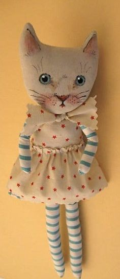 Sweet Lucy Cat Art Doll by Sandy Mastroni