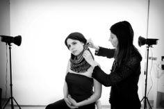 Backstage photoshooting collezione inverno 2014/15 Rovida Design. Fotografi: Studio Arienti Modella: Chiara De Mastro #scaldacolli #creatividimaremma #ecofashion