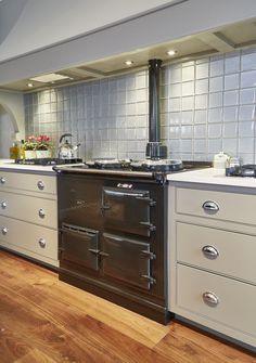 Best Black Aga With Bespoke Hand Painted Cabinets In Farrow 400 x 300