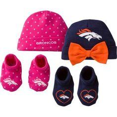 NFL Denver Broncos Baby Girl Cap and Bootie Accessories Set, 4-Pieces
