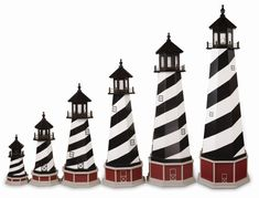 Amish Cape Hatteras Wooden Lighthouse Model - This charming replica of the original Cape Hatteras lighthouse will add color and beauty to your patio, garden or lawn. Handcrafted by the Amish of Lancaster County, it is built with care and commitment to quality. This nautical lighthouse is perfect for the end of a dock! Do you need to cover a Well Head or Sewer Pipe? Our Amish Made Wooden Cape Hatteras Lighthouse is an attractive solution to covering these unsightly obstructions in your yard.