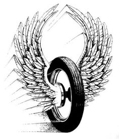 winged wheel with wings almost touching in motion! Bike Tattoos, Motorcycle Tattoos, Motorcycle Art, Motorcycle Engine, Wheel Tattoo, Arm Tattoo, Sleeve Tattoos, Tattoo Man, Biker Tattoos Designs