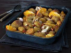 Ovnsbakte poteter med appelsin og mandler Aioli, Pretzel Bites, Hummus, Potatoes, Meat, Chicken, Vegetables, Food, Potato