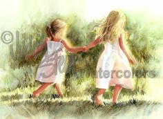 Free as a Bird is an Open Edition Giclee Art from a watercolor featuring two little girls running through the grass. Petite partners Hannah and