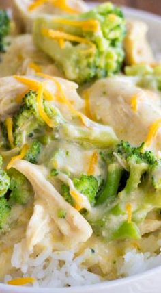 Slow Cooker Creamy Chicken and Broccoli Over Rice - alter this recipe. Use cream cheese and mushrooms.