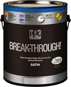 PPG BREAK-THROUGH! Interior/Exterior Satin Water-Borne Acrylic - Premier Paint & Wallpaper