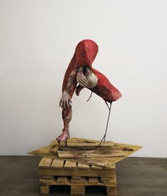 Woman Giving Birth to Herself, 2003   Metal armature, papier-mâché, and mixed media, 190x55x85cm  Sigalit Landau -  Selections from n Wonderland: The Surrealist Adventures of Women Artists in Mexico and the United States, Exhibition Catalogue, edited by Ilene Susan Fort (2012)