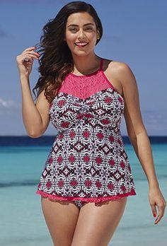 bb9c787084 Tankini Sets - Shore Club Potpourri Crochet High-Neck Tankini Trendy Plus  Size Fashion,