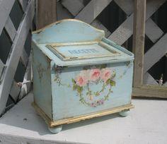 File / Recipe Box  vintage recipe box original pink rose wreath painting. via Etsy. SOLD
