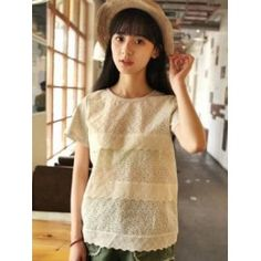 Cream layer crochet front t-shirt with scalloped hem.