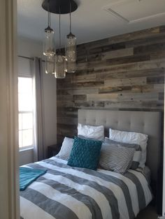 Reclaimed Weathered Wood - Accent wood wall with reclaimed weathered wood. Labor Junction / Home Improvement / House Projects / Bedroom / Rustic / House Remodels / www. Home Bedroom, Bedroom Wall, Bedroom Decor, Bedroom Rustic, Bedroom With Wood Wall, Reclaimed Wood Bedroom, Wall Headboard, Bedroom Ideas, Modern Headboard