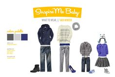What to wear Christmas Photos - blue and grey palette.