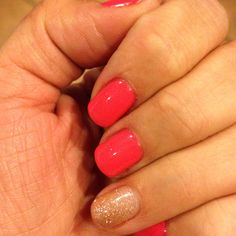 Coral pink and gold glitter gellish manicure