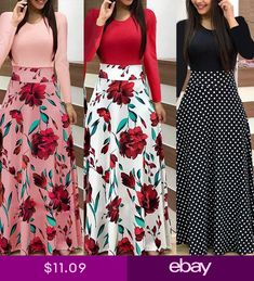 Womens Floral Long Maxi Dress Prom Evening Party Beach Boho Holiday Dresses Dress Prom, Holiday Dresses, Beach Party, Evening Party, High Waisted Skirt, Boho, Floral, Skirts, Shopping