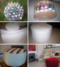 This is actually an Ottoman Seat made from recyclables!
