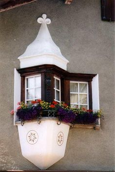 Unusually configured window--with row of flowers (What if winter is not a place outside?)