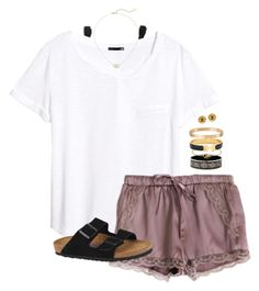 """over to a friend's"" by tessorastefan ❤ liked on Polyvore featuring Monki, H&M, Birkenstock, Kendra Scott, Hermès, Cartier and Chanel"