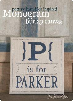 Pottery Barn Kids inspired burlap monogram wall art