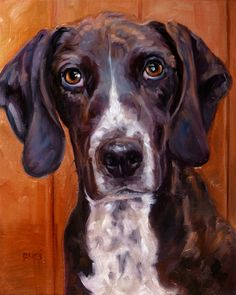 Hooked on Hounds custom Pet Portrait Oil by puciPetPortraits