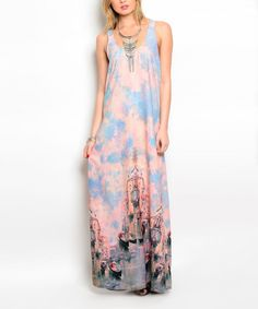 Another great find on #zulily! Peach & Light Blue French Canal Maxi Dress #zulilyfinds