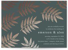 Lined Leaves Foil-Pressed Wedding Invitations