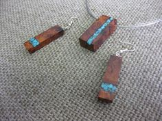 Amboyna burl and turquoise inlay  necklace by NatureArtJewellery, $89.00