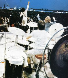 Pete Townshend -- airborne, Roger Daltrey & Keith Moon