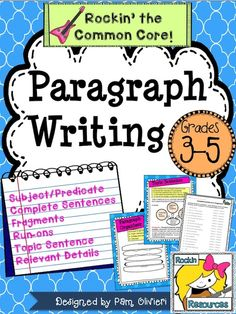 Paragraph Writing is a skill that should be taught prior to essay writing. Included in this Paragraph Writing packet are instructions, teaching posters for bulletin board or smart board, student printable for notebooking, independent practice, quiz, and test. 1. Subject/Predicate 2. Complete Sentence 3. Fragments 4. Run-ons 5. Topic Sentence 6. Indents 7. Relevant Details 8. Clincher 9. Hamburger Model Tpt Resource