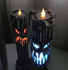 """13"""" tall, made of paper mache, mounted on a led color changing light box. The light box lights up the inside and a tea lite sits securely on the top.  Both the light box and the tea light are battery operated and reusable. Via HouseofDewberry on Etsy"""