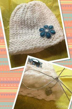 """Hat I made for a lady on the Internet. Also I got me some metal """"made with love"""" charms to put on my gifts and things I make."""