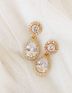 Gold Bridal Earrings Gold Wedding Jewelry Round Halo with Crystal Drop Earrings Bridal Jewelry by DreamIslandJewellery on Etsy
