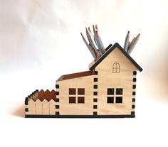 Wooden Pencil Holder, Small house Desk organizer, Laser Cut House Pencil Holder