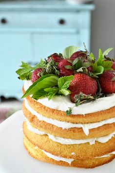 rustic strawberry shortcake. so pretty! love all the herbs too.