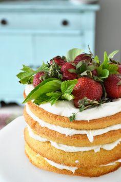 rustic strawberry shortcake. so pretty! love all the herbs too.