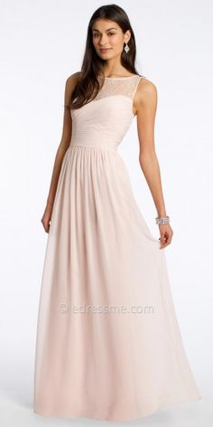 Chiffon Evening Dress With Lace Neckline By Camille La Vie