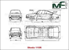 Skoda 110R - disegno - Model COPY Autocad, Adobe Illustrator, 2d, Photoshop, Cutaway