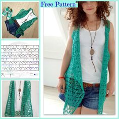 This Crocheted Summer Vest is very fashionable and beautiful, and it will certainly look great on you! Crochet Girls, Diy Crochet, Crochet Crafts, Crochet Top, Crochet Jacket, Lace Jacket, Crochet Cardigan, Knit Patterns, Clothing Patterns