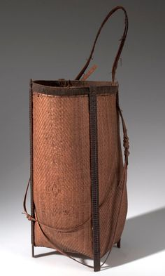 Africa | Basket from the Mangbetu people of Medje, Congo (Belgian Congo) | Plant fiber, cord and wood | ca. 1915
