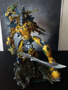 Warhammer 40k Eldar Wraithknight. Used roughly and looks like he's stretching before a run across the board