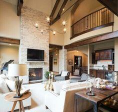 Stone fireplace to mirror pool