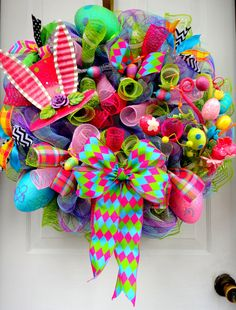 VeRY LiMITED AvAILABILITY!!! Mad Hatter Wreath - Deco Mesh Wreath -Alice In Wonderland- Top Hat Bunny Wreath - $119.00